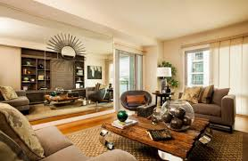 rustic chic living room ideas round brown lacquered wood coffee