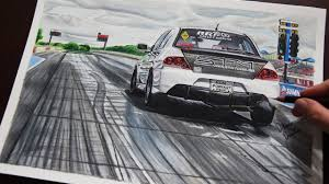 mitsubishi evo drawing mitsubishi evo 8 drag racer 1 realistic car drawing youtube