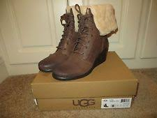 ugg australia womens emalie brown stout leather ankle boot 7 ebay ugg zea sherling waterproof leather wedge ankle boots s 10