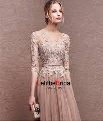 2016 long tulle lace champagne prom dresses with half sleeves