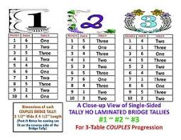 two table progressive tally 3 table couples laminated bridge tallies single sided ebay