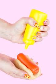 diy junk food manicure using watercolor paint