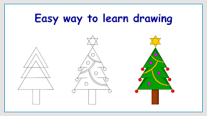 learn how to draw christmas tree in a simple way youtube