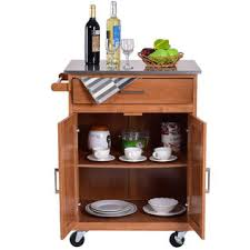 Rolling Storage Cabinet Goplus Wood Kitchen Trolley Cart Stainless Steel Top Rolling