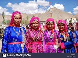 ladakh clothing ladakhi woman wearing traditional ladakhi dress in ladakh stock