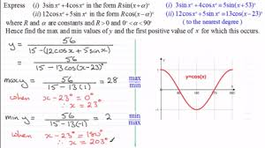 maths c3 harmonic identities finding max and min values
