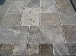 silver travertine versailles pattern field tile unfilled brushed