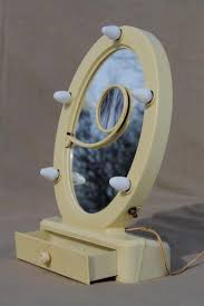 Vanity Stand Mirror Art Deco Vintage Lighted Vanity Mirror French Ivory Celluloid