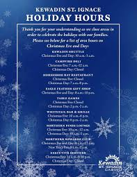 christmas day dinner table games holiday hours st ignace kewadin casinos
