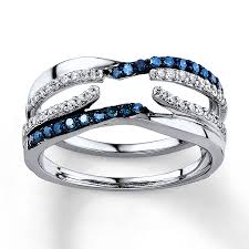 blue and white engagement rings blue white diamonds 3 8 ct tw enhancer ring 14k white gold