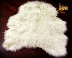 Faux Fur Area Rugs by Plush Russian Wolf Area Rug Faux Fur Off White With Brown Tips