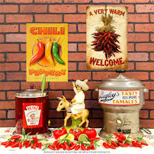 a very warm welcome chili bunch steel sign vintage home decor 12 x