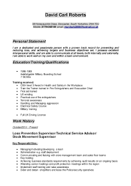 Resume Personal Statement by Dave Cv New