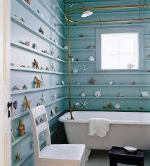 Clawfoot Bathtub Shelf Beach Themed Bathroom With Seashells Accessories And Clawfoot Tub