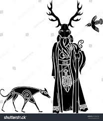 celtic ritual robes druid ritual mask wolf bird celtic stock vector 210004783