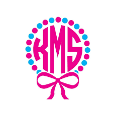 bow monogram circle monogram decal with bow and dots