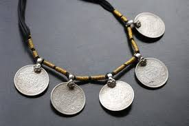 silver necklace from india images Old vintage silver coins necklace sterling silver necklace etsy jpg