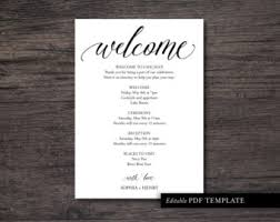 wedding itinerary for guests printable itinerary etsy