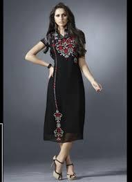 buy eternal top dot black georgette embroidered work party wear