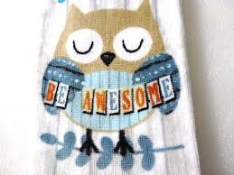 awesome owl kitchen towel 15 x 25 cotton trust your journey bird