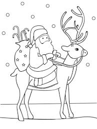 santa and reindeer coloring pages printable santa riding reindeer