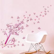 kinderzimmer schmetterling wandtattoo schule mädchen herz pink rosa blumen schmetterling