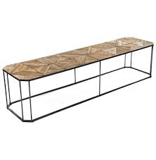 Parquet Coffee Table Kieran Reclaimed Wood Parquet Industrial Iron Bench Coffee Table