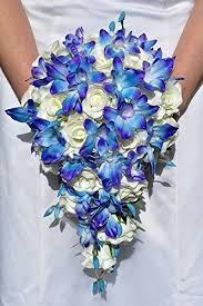 cascading bouquet stunning galaxy blue orchid and ivory cascading