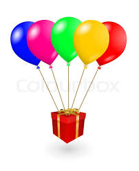 balloons in a box vector gift box with colored balloons stock vector colourbox