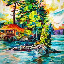 unique painting canada julia veenstra island getaway art pinterest