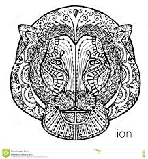 the black and white lion print with ethnic patterns coloring book