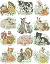 mom and baby farm animals machine embroidery designs by sew swell