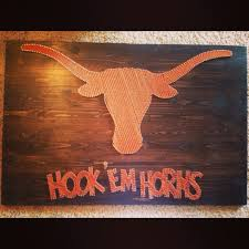 Texas Longhorn Home Decor String Art Sports Logo Texas Longhorns Hook Em U0027