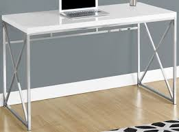 metal desk with laminate top monarch specialties i 7205 glossy white chrome metal computer desk
