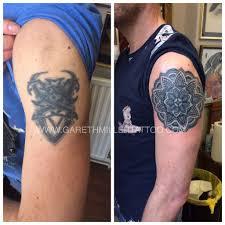 mandala tattoo on shoulder tattoo leeds gareth miller dotwork japanese traditional gallery
