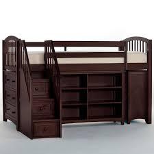 ne kids schoolhouse storage junior loft bed with stairs white