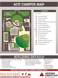 University Of Arizona Map by Acu Campus Map Arizona Christian University