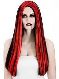 Bewitched Halloween Costume Ladies Long Vampiress Wig Black Red Streaks Fancy Dress