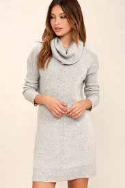 cute grey dress knit dress cowl neck dress long sleeve dress