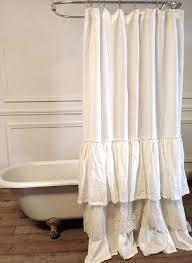 white ruffle shower curtain extra long
