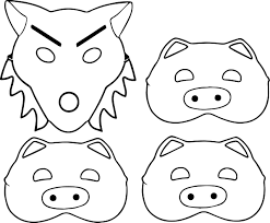 3 little pigs and wolf mask coloring page wecoloringpage