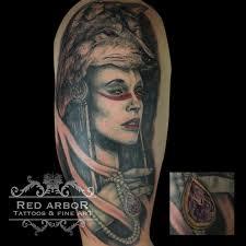 warrior with wolf headdress by claussen tattoonow