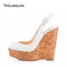 wedding shoes cork women s shiny white peep toe slingback cork wedge pumps