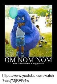 Nom Nom Nom Meme - angrykittyneedsa uugh om nom nom how grimace has a happy meal