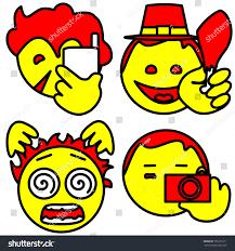 set emoji icons consisting talking on stock vector 705251911