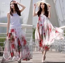 summer dresses plus size women floral print chiffon dress