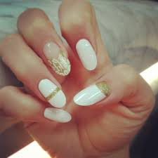 almond white u0026 gold nails nails pinterest white gold nails
