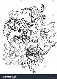 hand drawn outline koi fish tattoo stock vector 578204875