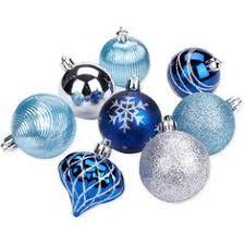 time 40 count shatterproof ornament set teal blue