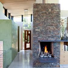 rustic and modern fireplace eclectic entry